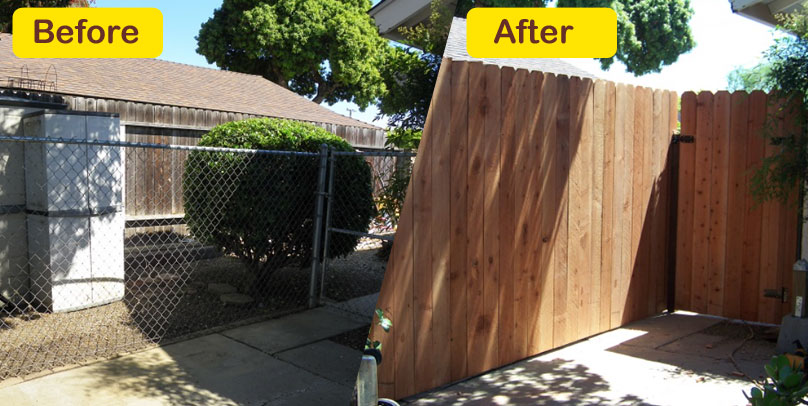 Before and After: Old Chain Link to Pine Fence