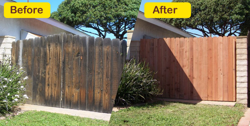 Before and After: Old Pine to New Pine Fence