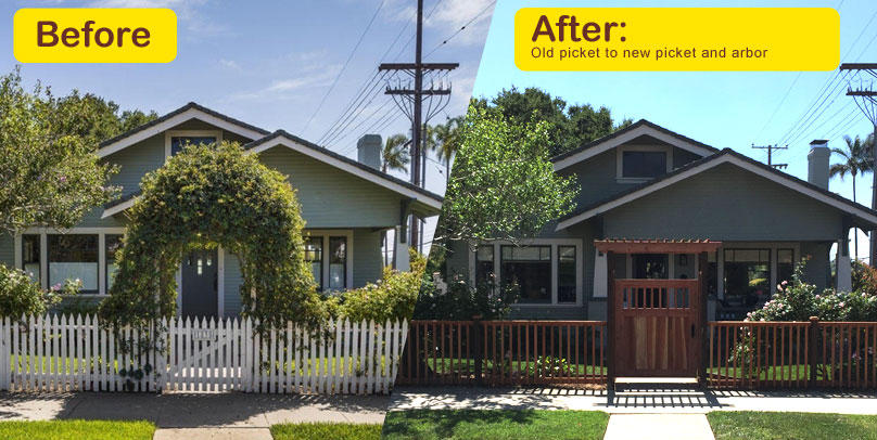 Before and After: Old picket to new picket and arbor