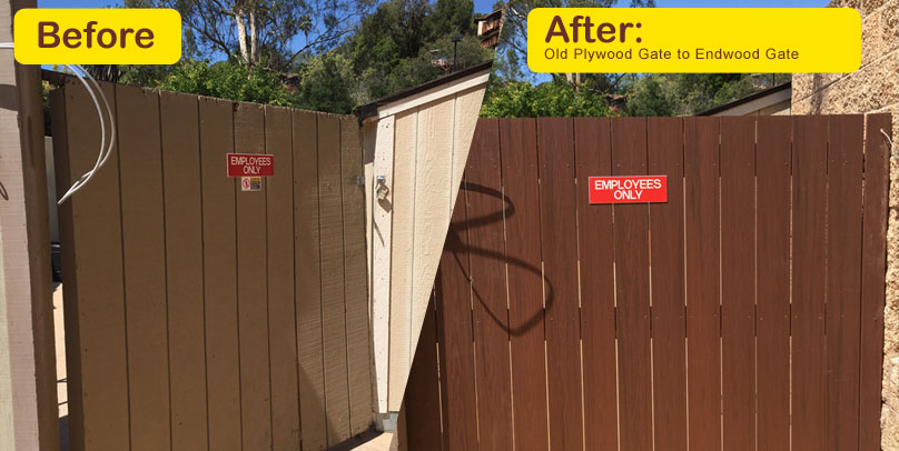 Before and After: Old Plywood Gate to Endwood Gate
