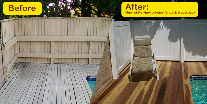 Before and After: White Vinyl Privacy Fence & Wood Deck
