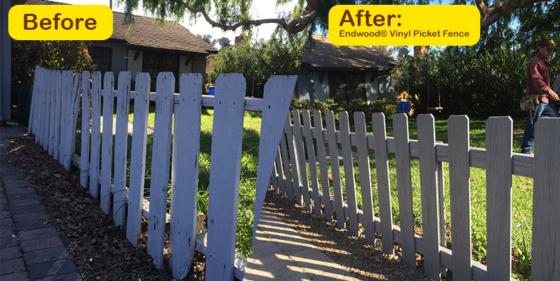 Before and After: Endwood® Vinyl Picket Fence