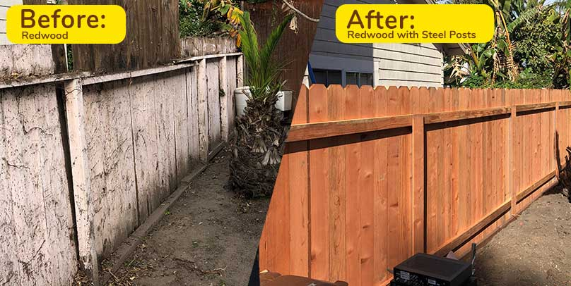 Before and After: Redwood with Steel Posts