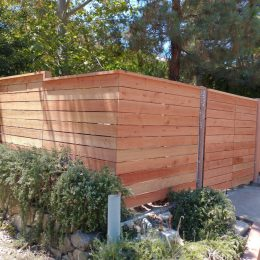Horizontal Redwood Fence with Top Cap