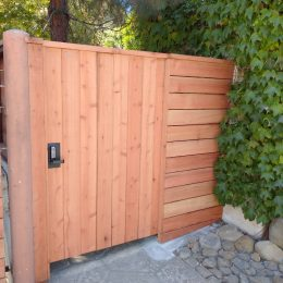 Vertical Wood Gate with Top Cap and Keypad Lock