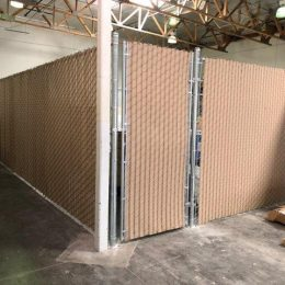 Chain Link with Tan Slats
